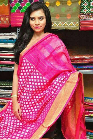 Pink Color Ikat Silk Pochampally Saree - LS-WA0123