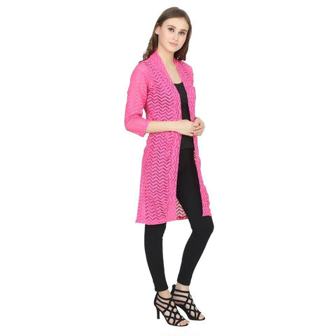Rani and Pink Color Net Womens Shrugs - LS-XLS-RANIPINK