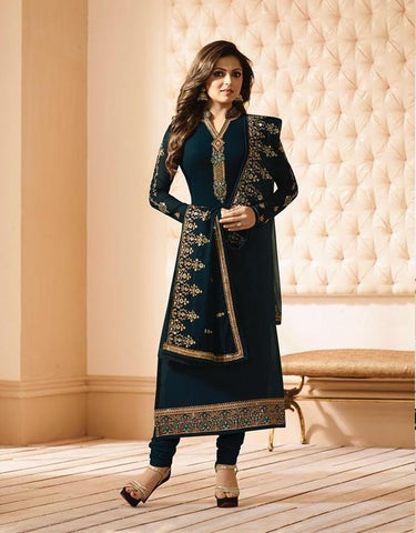 Dark Green Color Fox Georgette Women's Semi-Stitiched Salwar - LT-2201
