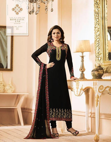 Black Color Fox Georgette Women's Semi-Stitiched Salwar - LT-2204