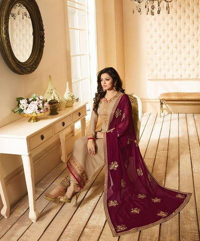 Cream Color Fox Georgette Women's Semi-Stitiched Salwar - LT-2205