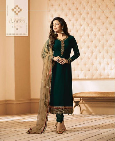Green Color Fox Georgette Women's Semi-Stitiched Salwar - LT-2206
