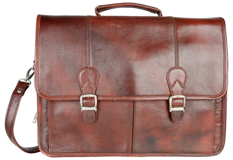 Red Color Leather Men Laptop Bag - LTBS02