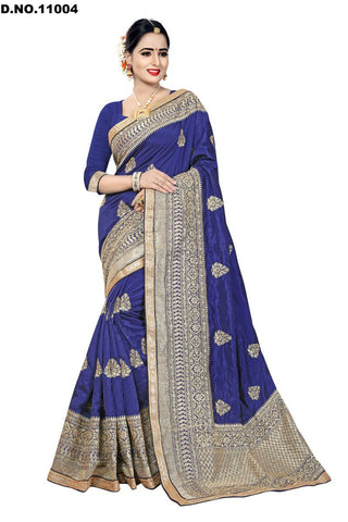Navy Blue Color Zoya Silk Saree - Lady-11004