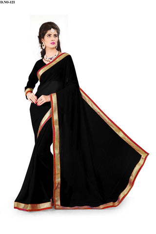 Black Color 60GM Georgette Saree - Lady-121
