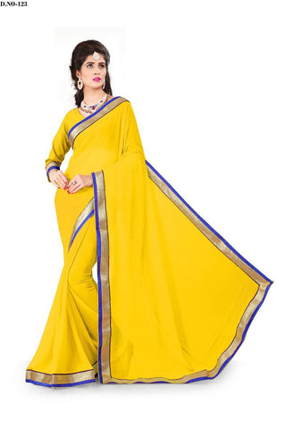 Yellow Color 60GM Georgette Saree - Lady-123
