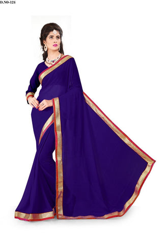 Navy Blue Color 60GM Georgette Saree - Lady-124