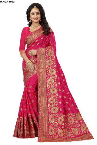 Red Color Art Silk Saree - Lady-14003