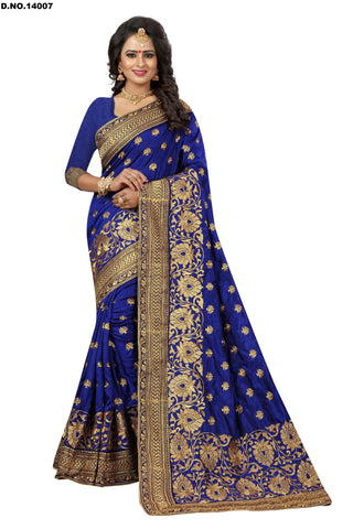 Blue Color Art Silk Saree - Lady-14007