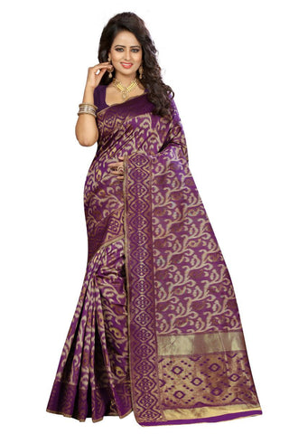Wine Color Kanjivaram Silk Saree - Lady-351