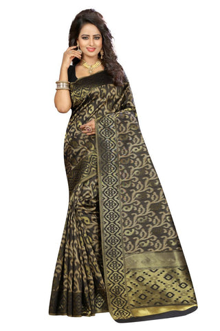 Black Color Kanjivaram Silk Saree - Lady-355