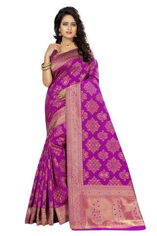 Rani Color Kanjivaram Silk Saree - Lady-356