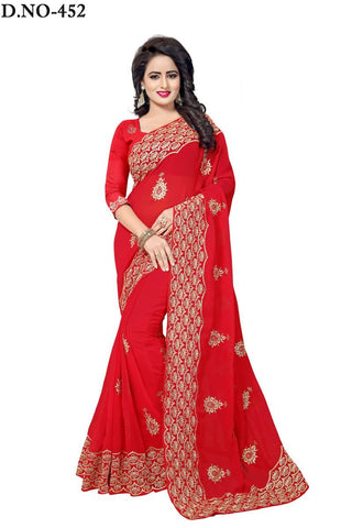 Red Color 60GM Georgette Saree - Lady-452