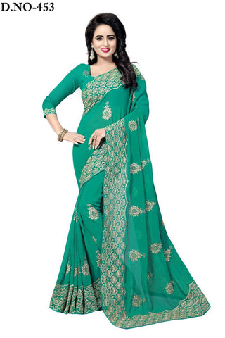 Rama Green Color 60GM Georgette Saree - Lady-453