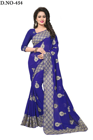 Navy Blue Color 60GM Georgette Saree - Lady-454