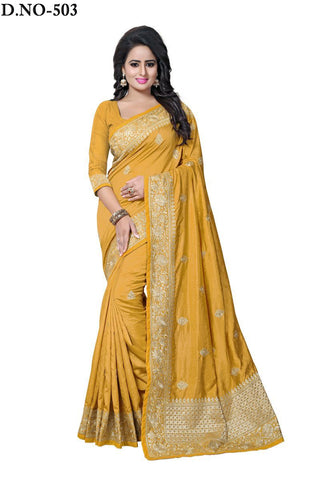 Gold Color Zoya Artsilk Saree - Lady-503