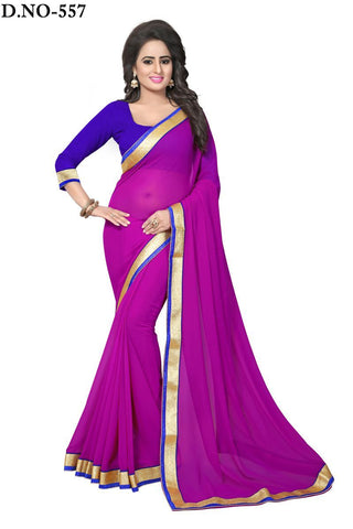 Magenta Color Georgette Saree - Lady-557