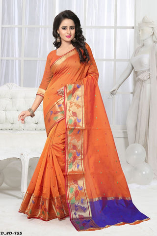 Orange Color Handloom Silk Saree - Lady-755