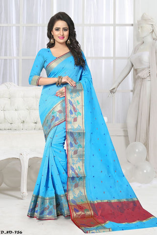 Aqua Blue Color Handloom Silk Saree - Lady-756