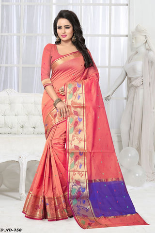 Light Orange Color Handloom Silk Saree - Lady-758