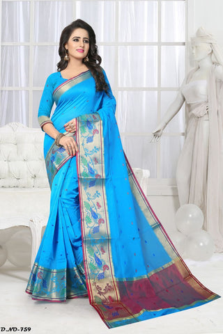 Aqua Blue Color Handloom Silk Saree - Lady-759