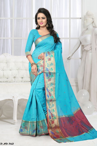 Sky Blue Color Handloom Silk Saree - Lady-762
