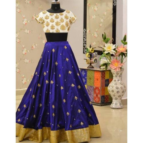 Buy Blue Color Banglori Silk Stitched Lehenga