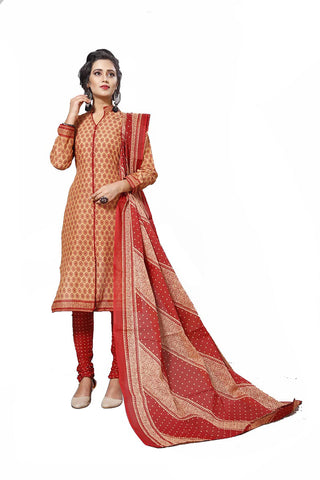 Beige Color Cotton  Stitched Salwar  - Lalpari-4002