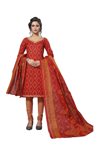 Red Color Cotton  Stitched Salwar  - Lalpari-4009