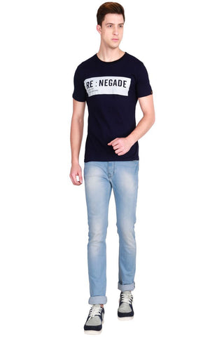 Navy Blue Color Cotton Men T-Shirt - LeBison-18