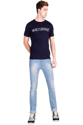 Navy Blue Color Cotton Men T-Shirt - LeBison-19