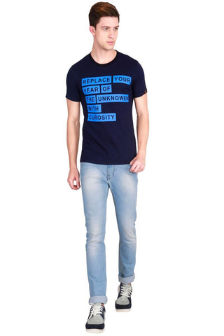 Navy Blue Color Cotton Men T-Shirt - LeBison-21