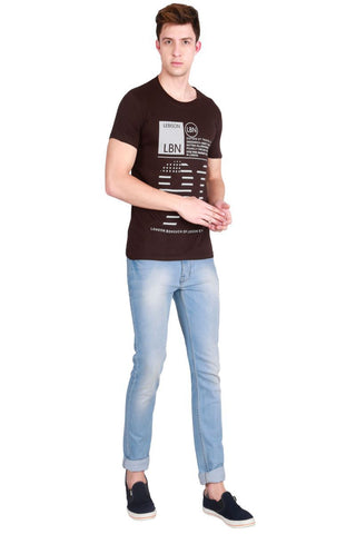 Brown Color Cotton Men T-Shirt - LeBison-23