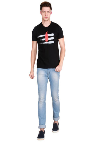 Black Color Cotton Men T-Shirt - LeBison-24
