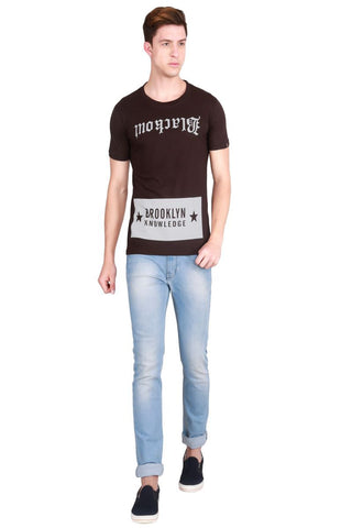 Brown Color Cotton Men T-Shirt - LeBison-25