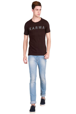 Brown Color Cotton Men T-Shirt - LeBison-26