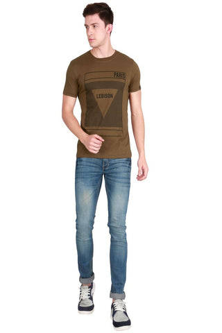 Khaki Color Cotton Men T-Shirt - LeBison-27
