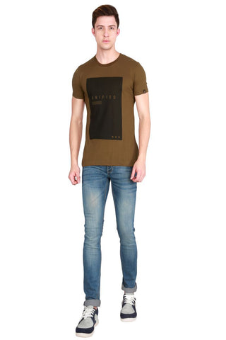 Khaki Color Cotton Men T-Shirt - LeBison-28