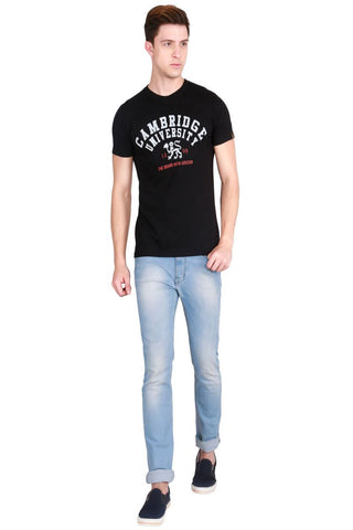 Black Color Cotton Men T-Shirt - LeBison-29
