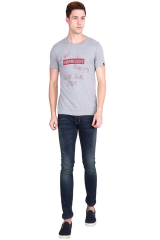 Grey Color Cotton Men T-Shirt - LeBison-2