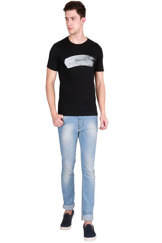 Black Color Cotton Men T-Shirt - LeBison-31