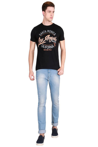 Black Color Cotton Men T-Shirt - LeBison-32