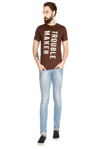 Brown Color Cotton Men T-Shirt - LeBison-39