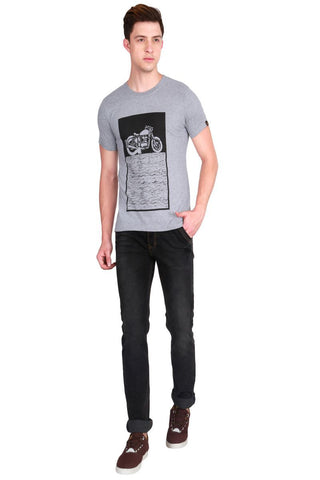 Grey Color Cotton Men T-Shirt - LeBison-3