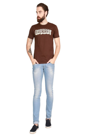 Brown Color Cotton Men T-Shirt - LeBison-41