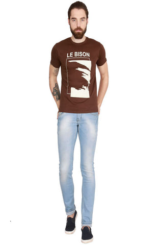 Brown Color Cotton Men T-Shirt - LeBison-42