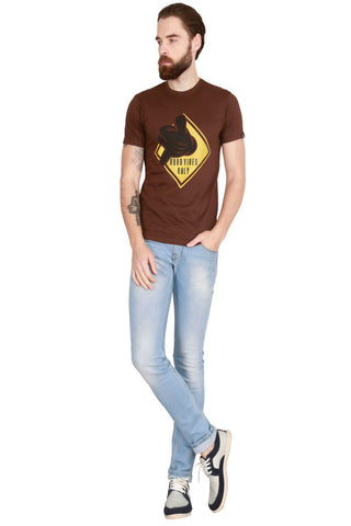 Brown Color Cotton Men T-Shirt - LeBison-43