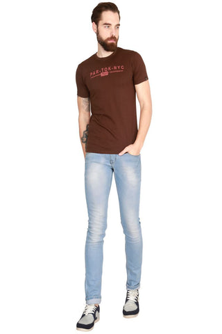 Brown Color Cotton Men T-Shirt - LeBison-45