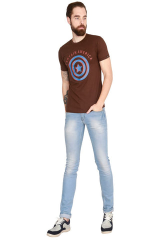 Brown Color Cotton Men T-Shirt - LeBison-46