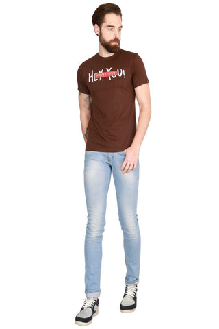 Brown Color Cotton Men T-Shirt - LeBison-47